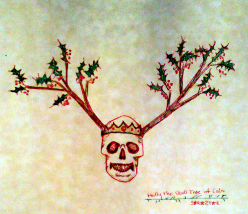 Skull Tree of Cain by Sara Star (me) based on the Holly entry in Daniel Schulke's herbal compendium: Viridium Umbris.