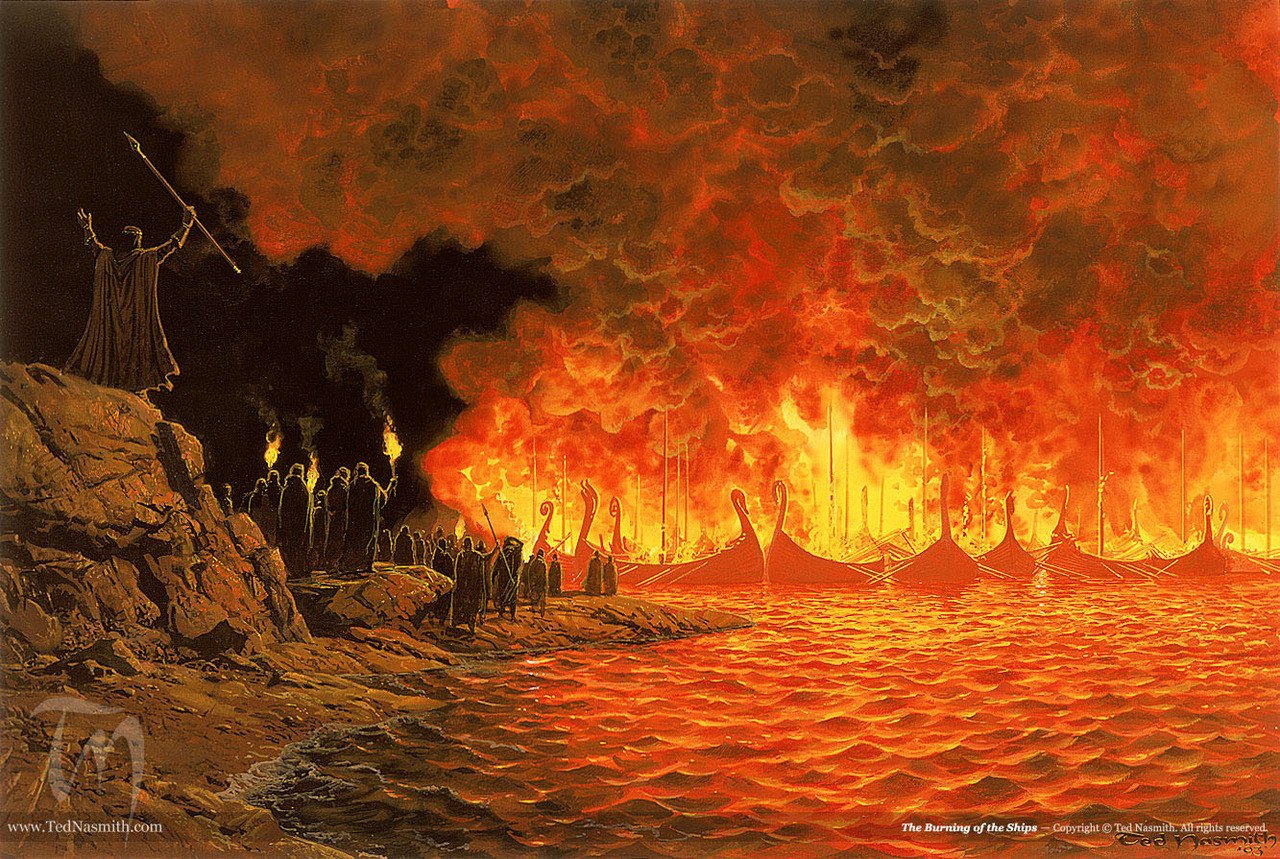 The Burning of the Ships by Ted Nasmith (Silmarillion)