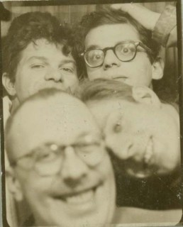 Clockwise: Gregory Corso, Allen Ginsberg, Peter Orlovsky, Paul Carrol, Chicago at time of Big Table reading, January 1959. c. Allen Ginsberg Estate