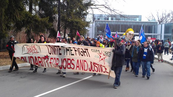 Unite the Fight march leaving Glendon campus on March 27