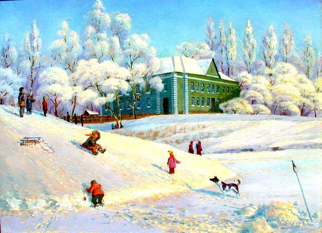 Зимние забавы.Работа Виктора Батищева