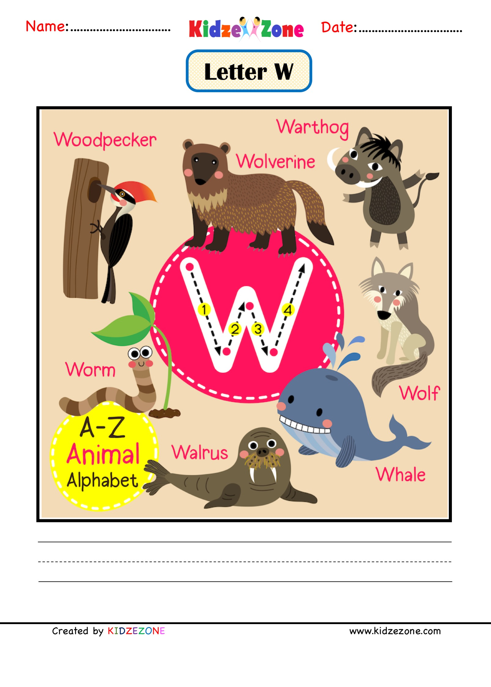 Kindergarten Letter W Animal Picture Cards Worksheet