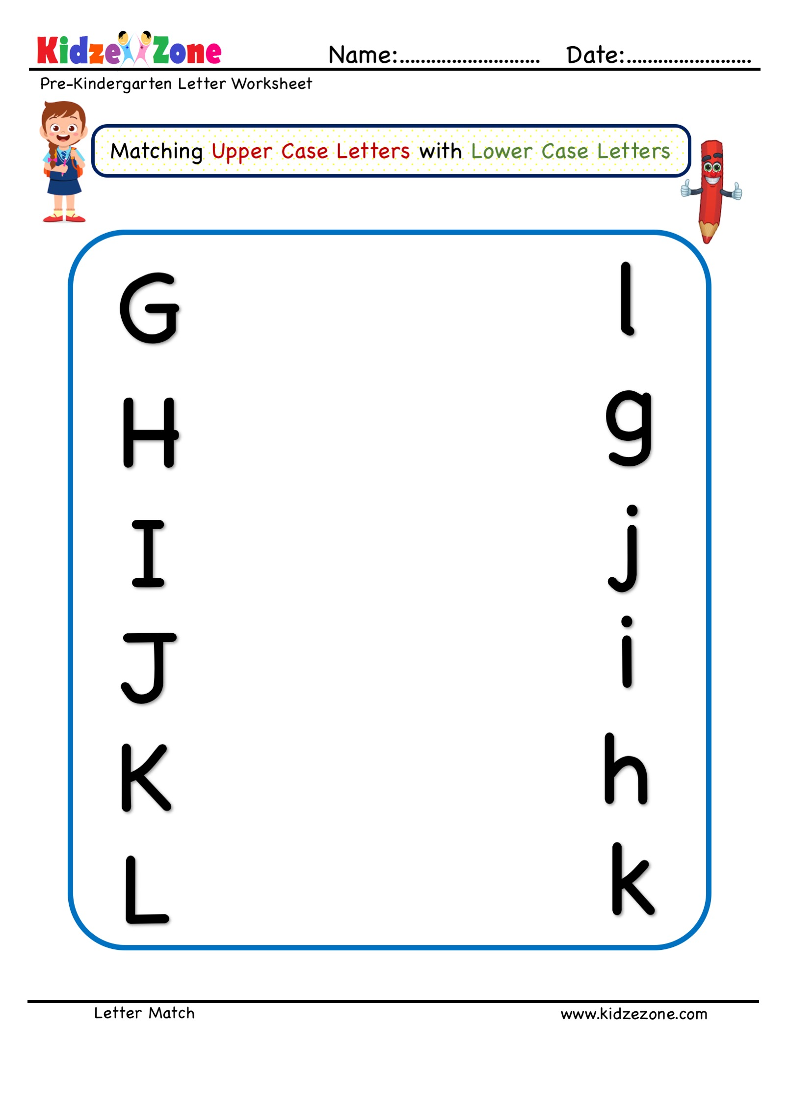 Preschool Letter Matching Upper Case To Lower Case Worksheet 3