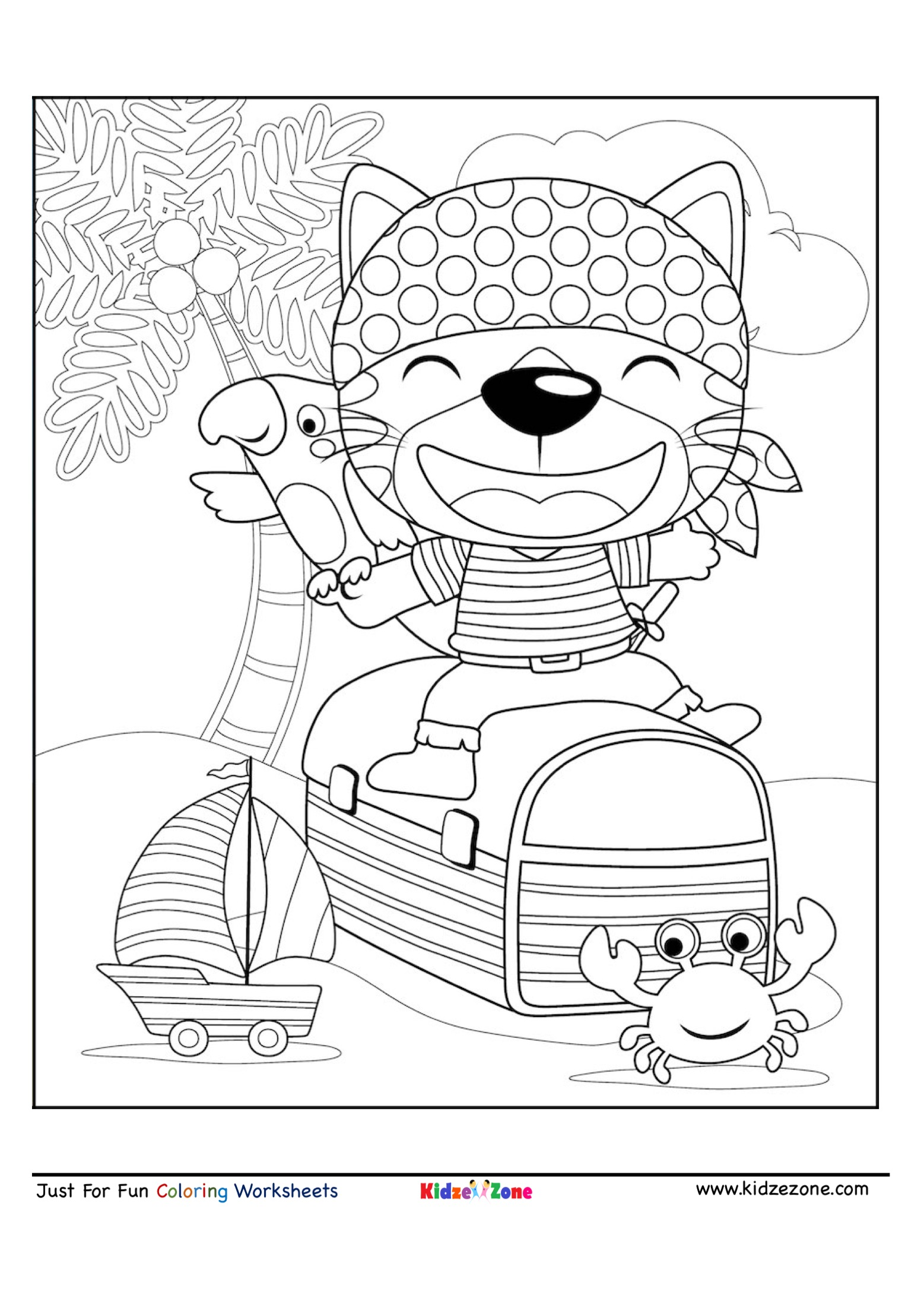 Pirate Bear Cartoon Coloring Page Kidzezone