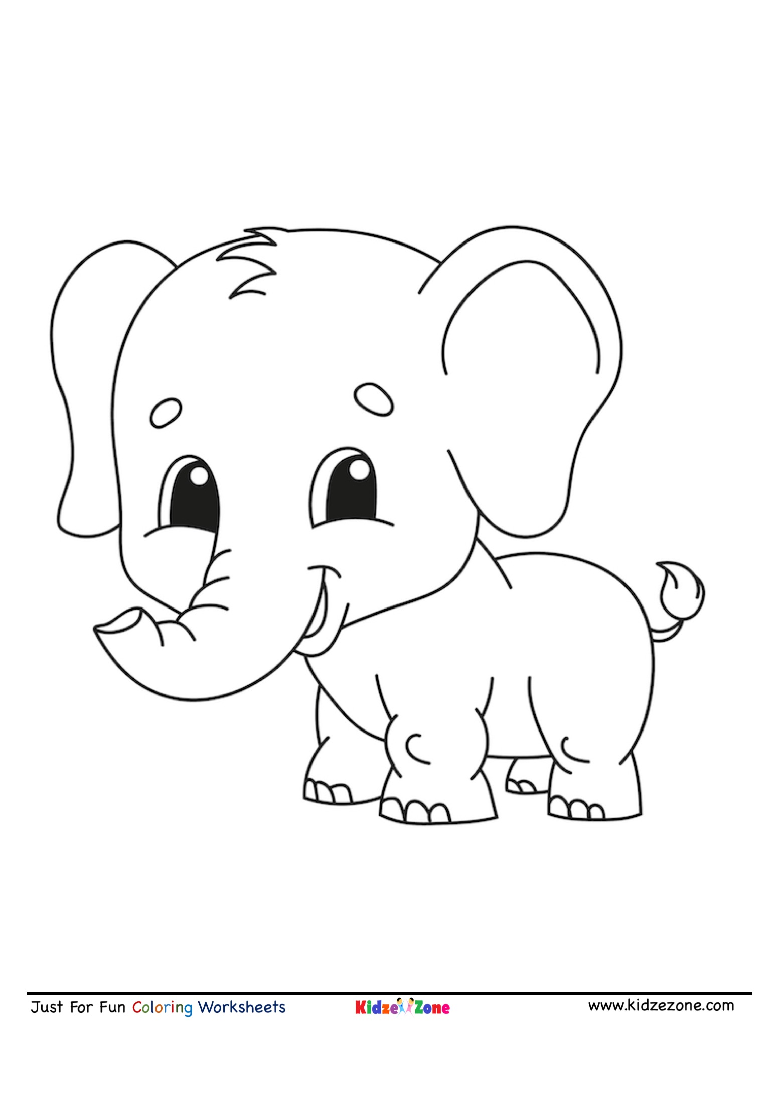 Baby Elephant Cartoon Coloring Page