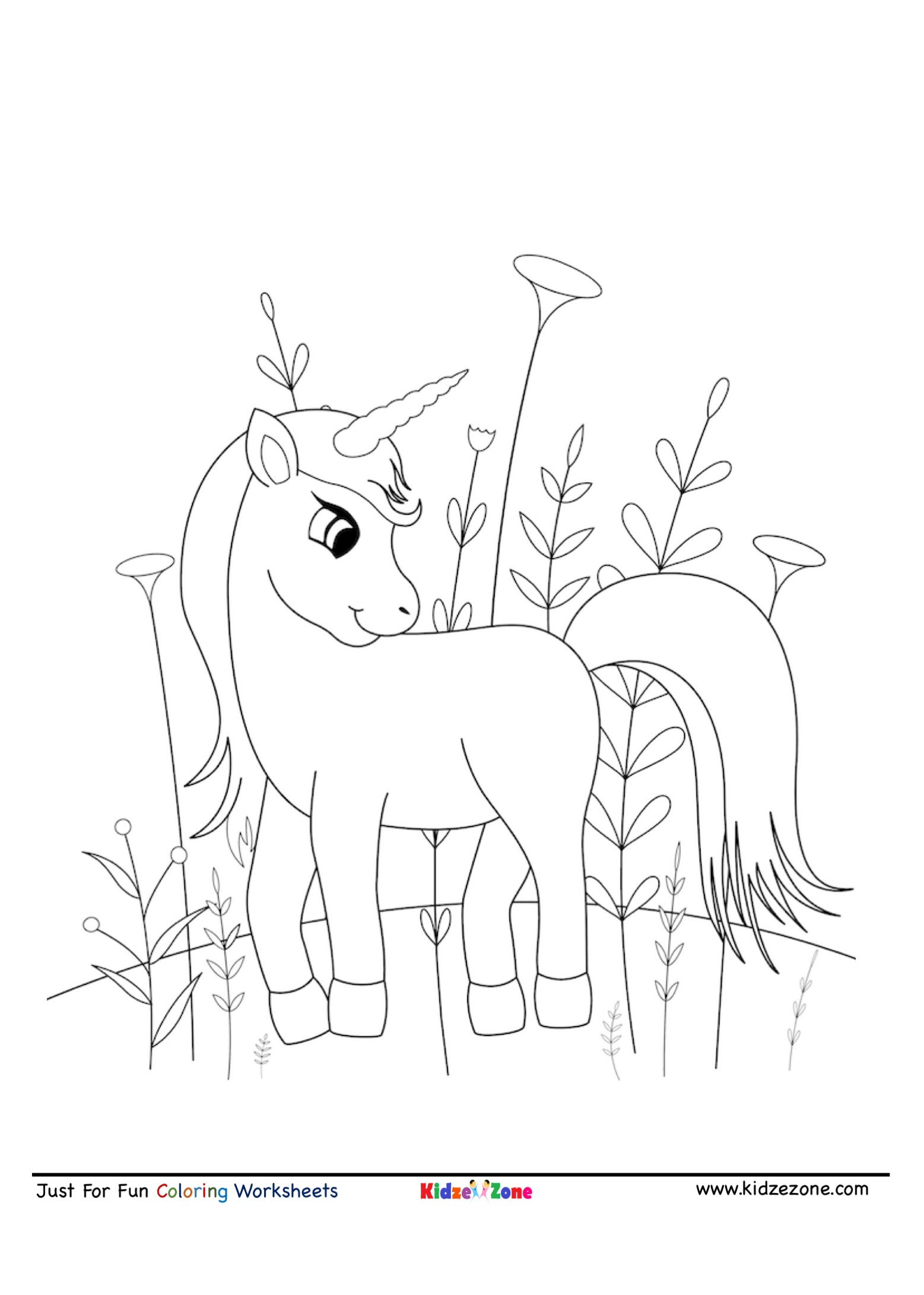 Pony Unicorn With Flowers Coloring Page