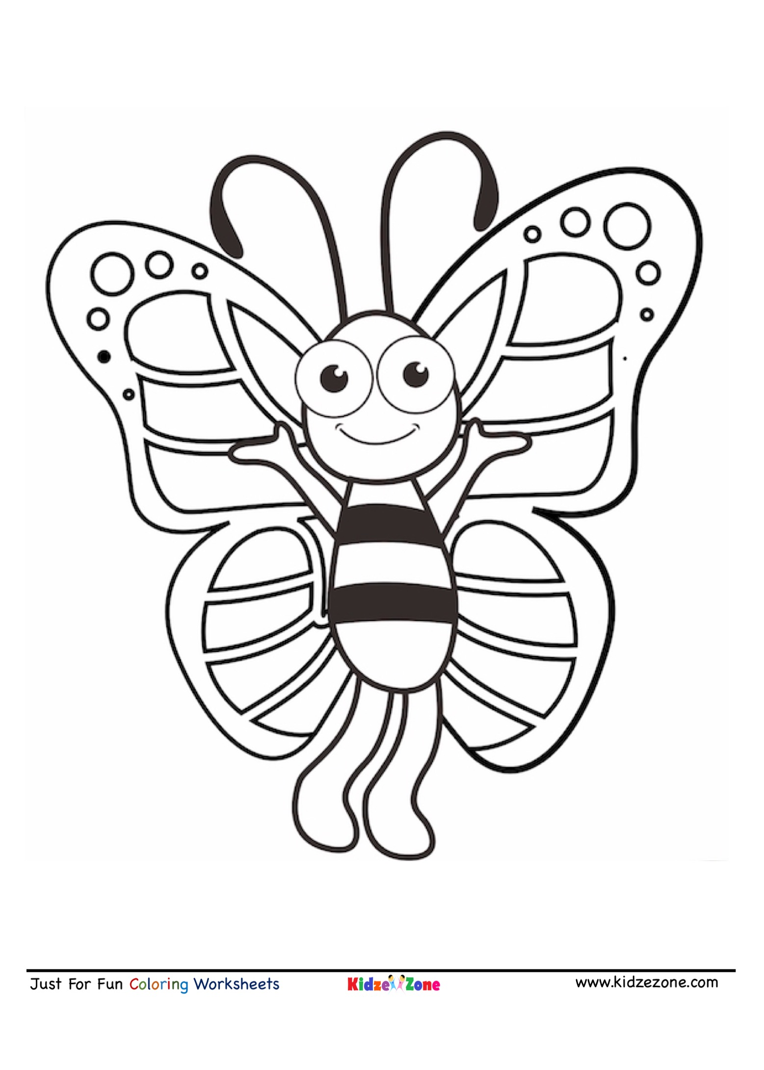 Butterfly Cartoon Coloring Page