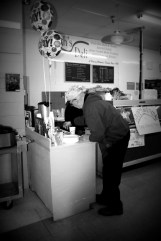 Dink getting coffee bw