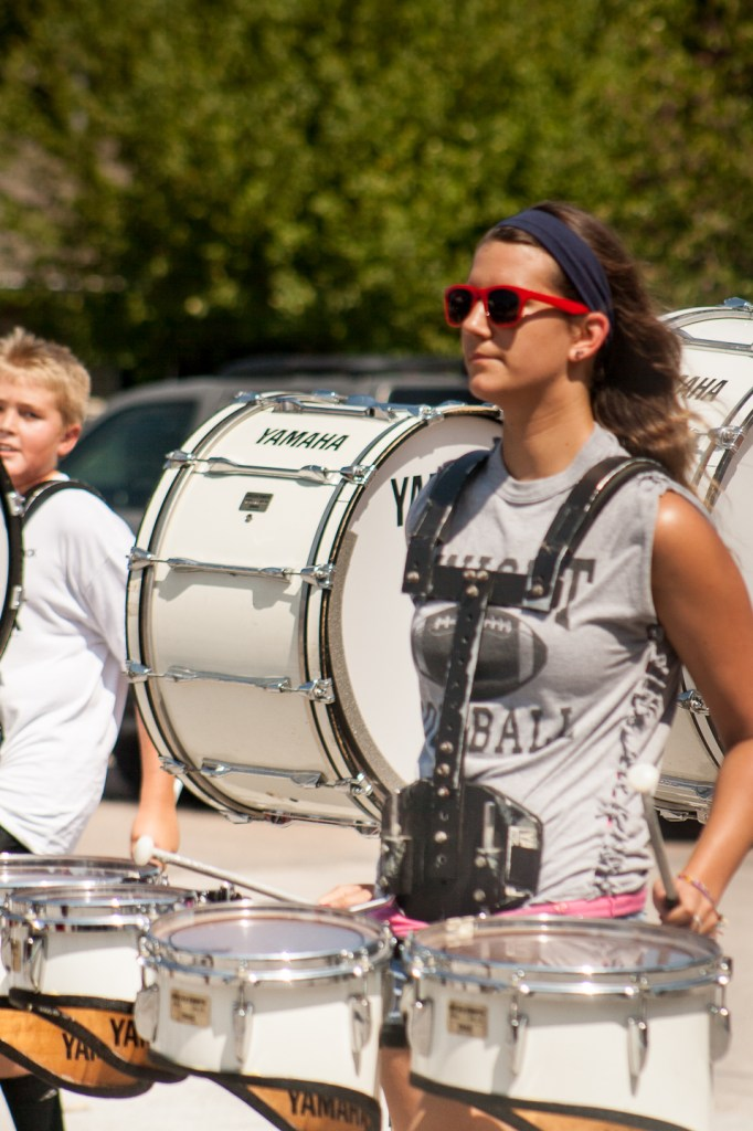 Bass drum and the quads marching during the parade