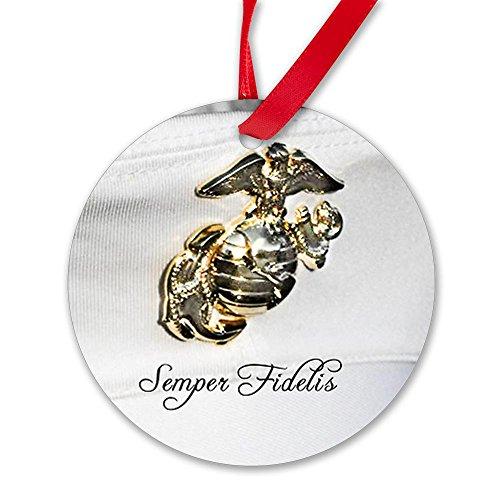 CafePress Marine Corps Cover Ornament Round Ornament - Standard White