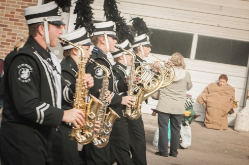Marching band parade in the cold Nebraska Weather