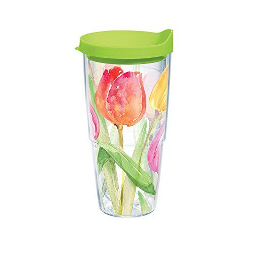 Tervis Tea for Tulips Wrap Bottle with Lime Green Lid, 24-Ounce, Garden Party