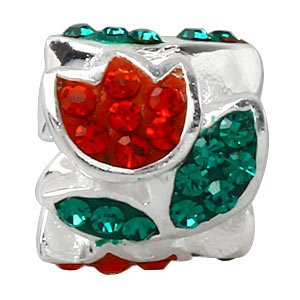 Everbling Tulip Flower with Red and Green Austrian Crystal 925 Sterling Silver Bead Fits Pandora Charm Bracelet