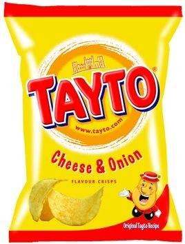 Tayto Irish Cheese & Onion Crisps - 6 Pack ( 6 x 25g bags)