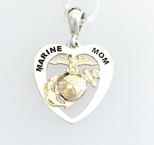 Two Tone 14K White Gold Base and 14K Yellow Eagle Globe and Anchor Marine Mom Heart Pendant