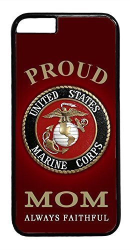 USMC Marines Marine Corps Proud Mom Black Case Cover Hard Plastic Black Case Cover for iPhone 6 Plus 5.5