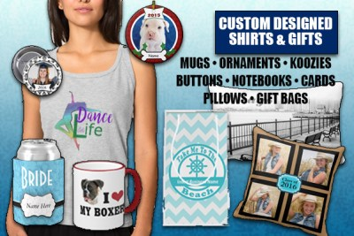 Custom graphic designer personalized shirts and gifts for Family reunions, vacations and graduations