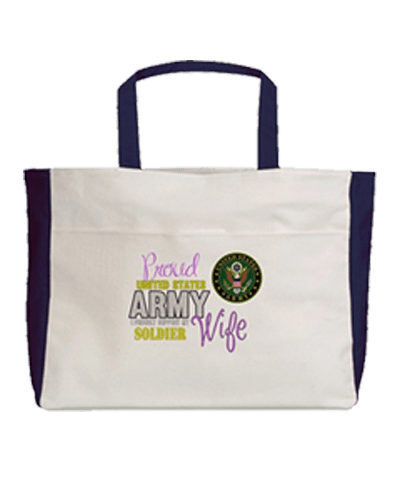 Army wife shopping and beach bag