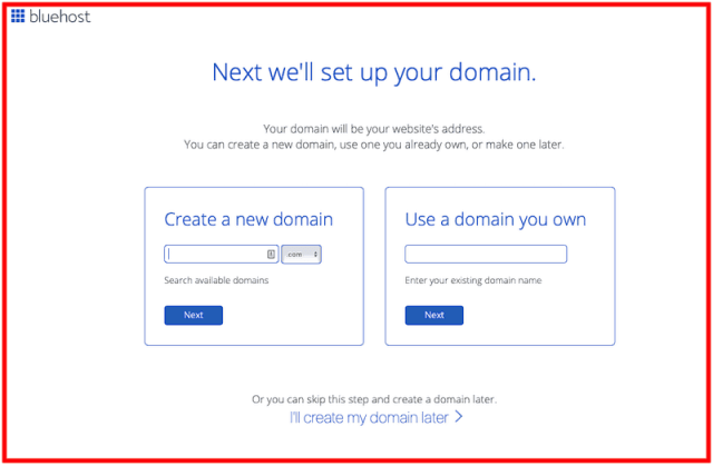 How to Start a Blog - Bluehost Domain Name