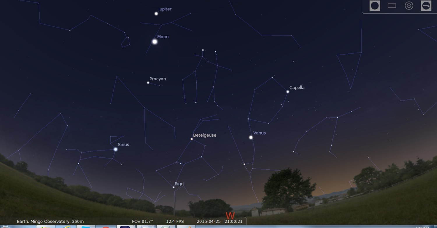 See Jupiter near to the Moon in Cancer, with bright stars and planet Venus all in view.
