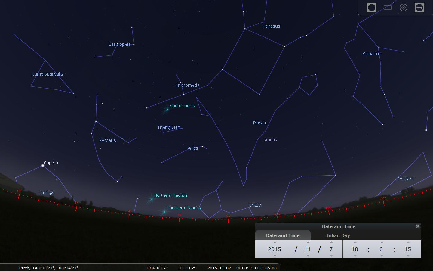 Radiants (apparent origins) of many November meteor showers are shown above the eastern horizon along with familiar constellations and bright stars in this Stellarium screen capture.