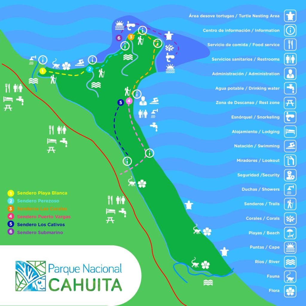 carte parc national cahuita