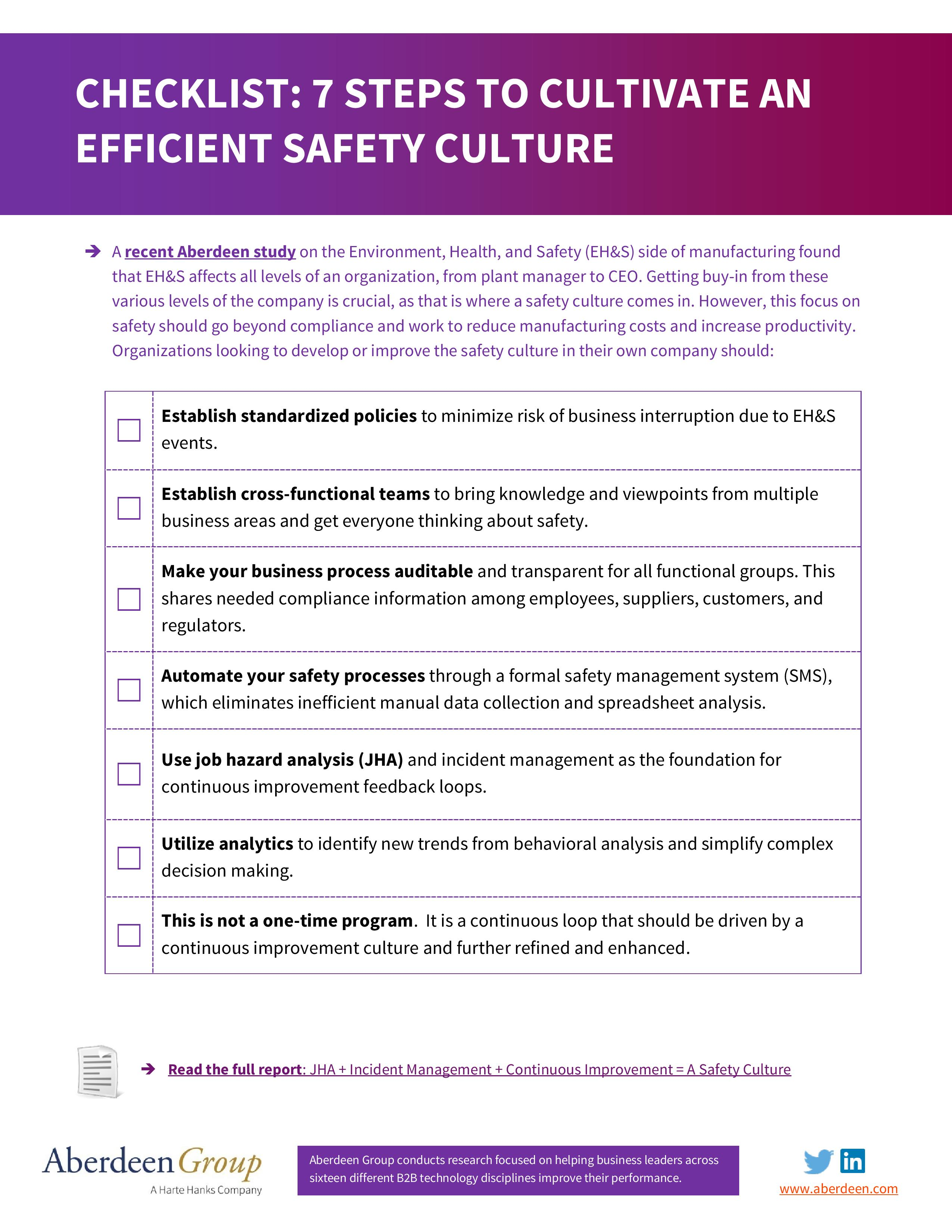 Checklist 7 Steps To Cultivate An Efficient Safety