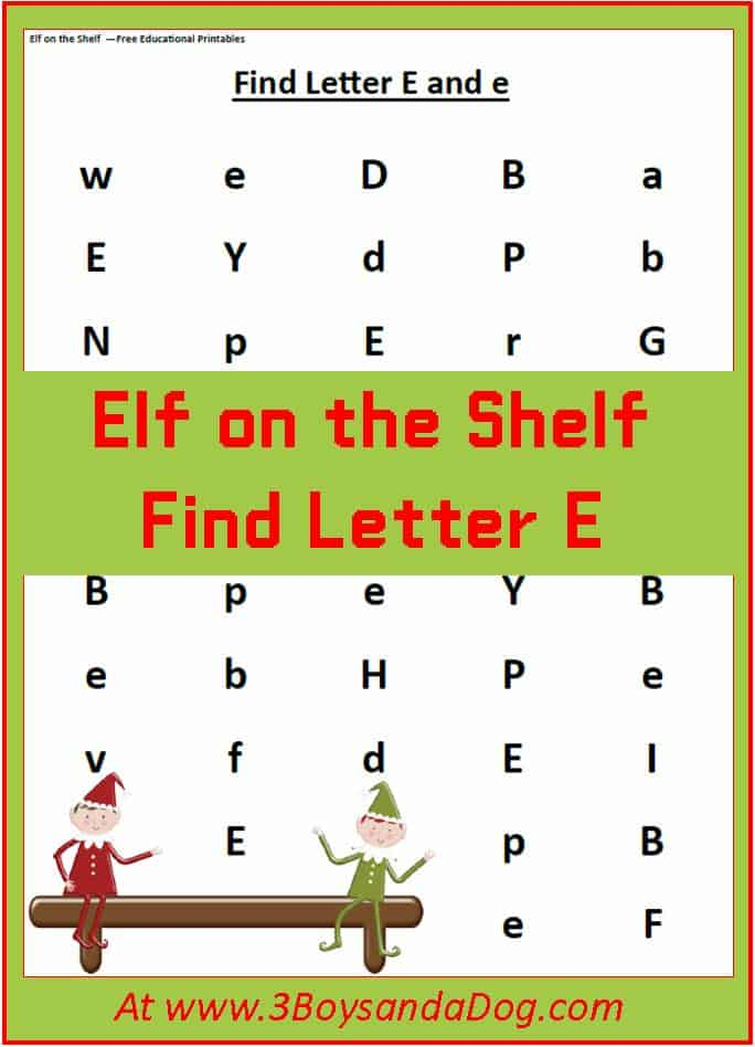 Find The Letter E Is For Elf Christmas Printable
