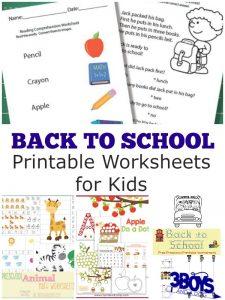 Back to School Worksheets
