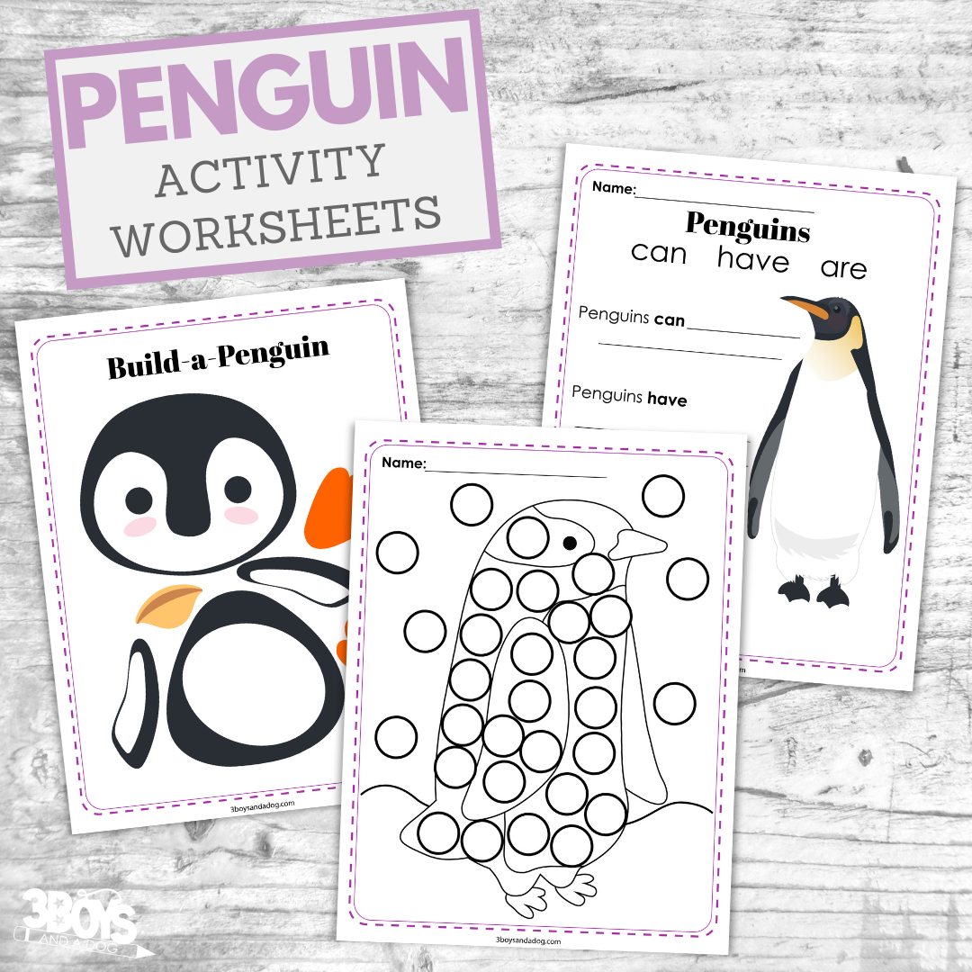 Penguin Activity Sheets For Kids 3 Boys And A Dog