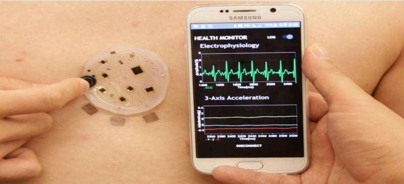 Stick-on patch collects, analyzes and wirelessly transmits a variety of health metrics