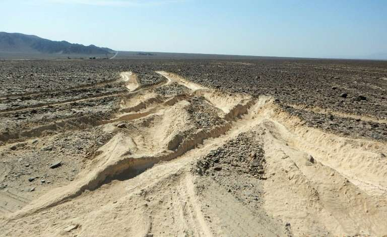 This Peruvian Ministry of Culture picture shows damage caused by a truck that illegally entered the archaeological site where th