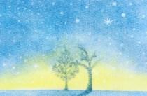 3色パステルアート,2月,作品集,冬