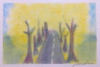 パステルアート秋の作品銀杏並木