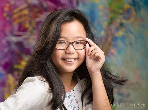 Chloe in glasses