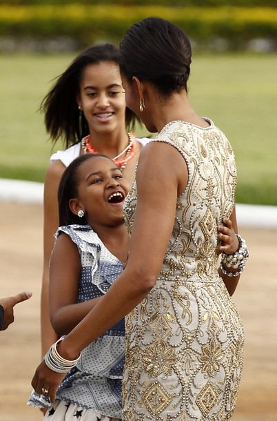 First lady Michelle Obama with her daughters in Brazil