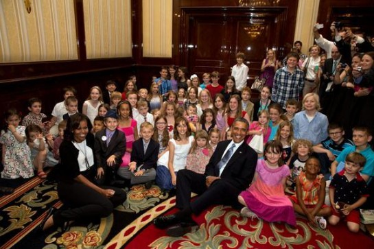 President and First Lady pose with children of embassy workers in Berlin.