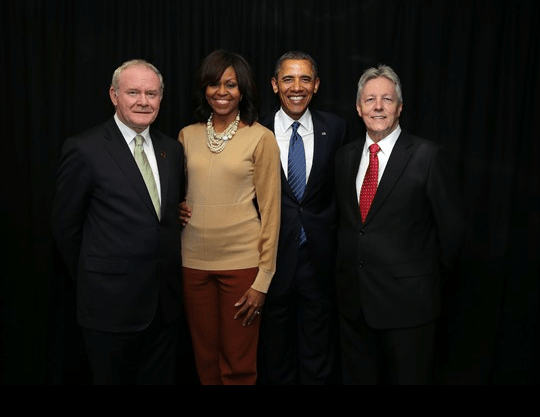 President Obama and his wife Michelle, pictured with First Minister Peter Robinson and Deputy First Minister Martin McGuinness