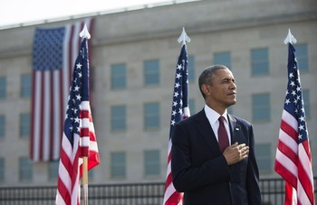 President Obama Lays a Wreath at the Pentagon