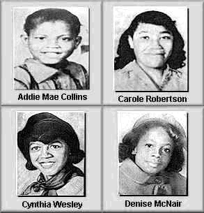 Four girls were killed in the bombing of the 16th street Baptist Church, in Birmingham, Ala., on Sept. 15, 1963. One man was convicted in the crime 1977