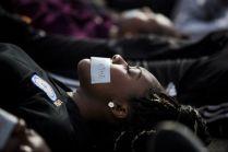 UTSA senior Paulette Agu Wednesday Dec. 10, 2014 during a Die-in in honor of Michael Brown and Eric Garner