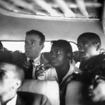 Freedom riders on a bus in the Deep South.