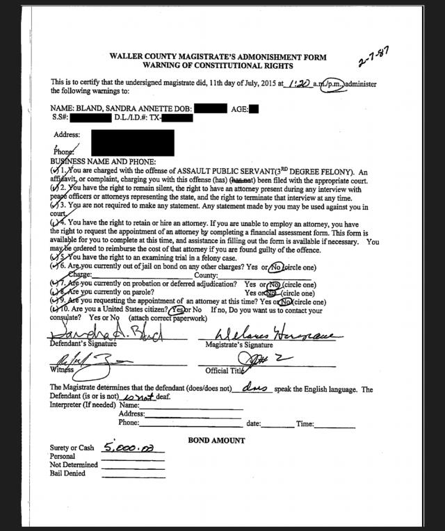 Sandra Bland Police Report 1