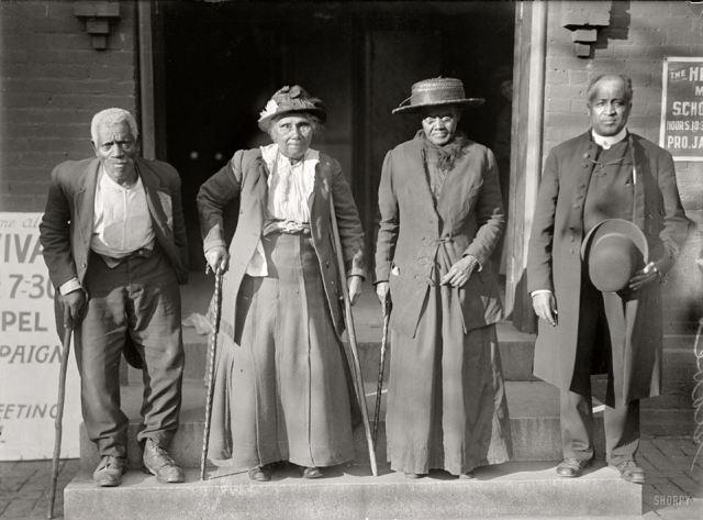 1916- Former slaves attend reunion of ex-slaves convention. Lewis Martin, Martha Elizabeth Banks Amy Ware, and Rev Simon P. Drew( born free)
