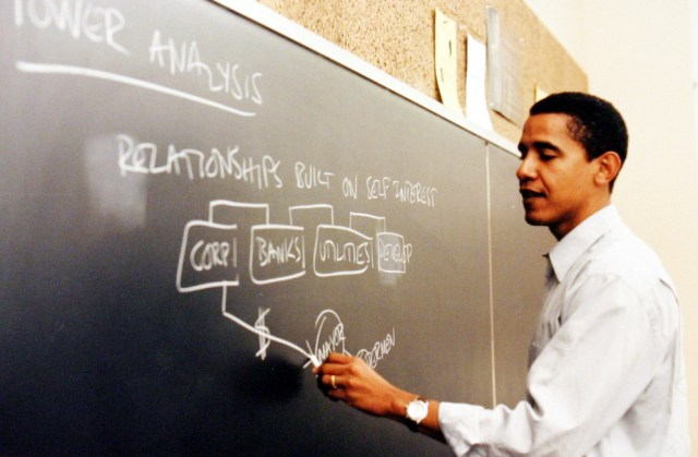Barack Obama teaches constitutional law at the University of Chicago in the 1990s.