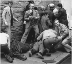 In 1981, a man named John Hinckley, Jr. shot President Ronald Reagan in the midsection and Press Secretary James Brady in the head. Both men survived, though Brady was permanently disabled. Hinckley said he'd done it to impress actress Jodie Foster, with whom he was obsessed. He was found not guilty by reason of insanity.