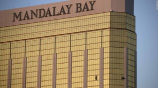Broken windows are seen on the 32nd floor of the Mandalay Bay Resort and Casino after a lone gunman opened fired on the Route 91 Harvest country music festival on October 2, 2017 in Las Vegas, Nevada. The gunman, identified as Stephen Paddock, 64, of Mesquite, Nevada, opened fire from the Mandalay Bay Resort and Casino on the music festival, leaving at least 50 people dead and hundreds injured. Police have confirmed that one suspect has been shot. The investigation is ongoing.