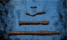 Marine archaeologists recovered nails, spikes, and bolts used to secure the ship's beams and planking. Made of hand-forged iron, such fasteners were common in schooners built in Mobile in the mid-19th century.