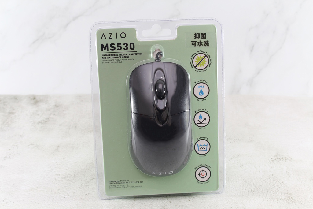 AZIO KB530 & MS530抗菌可沖洗有線鍵盤滑鼠-髒了水洗就對了!1848