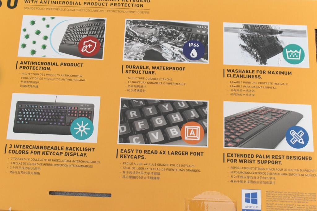 AZIO KB530 & MS530抗菌可沖洗有線鍵盤滑鼠-髒了水洗就對了!6098